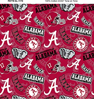 University of Alabama Cotton Fabric with New Tone ON Tone Design Newest Pattern