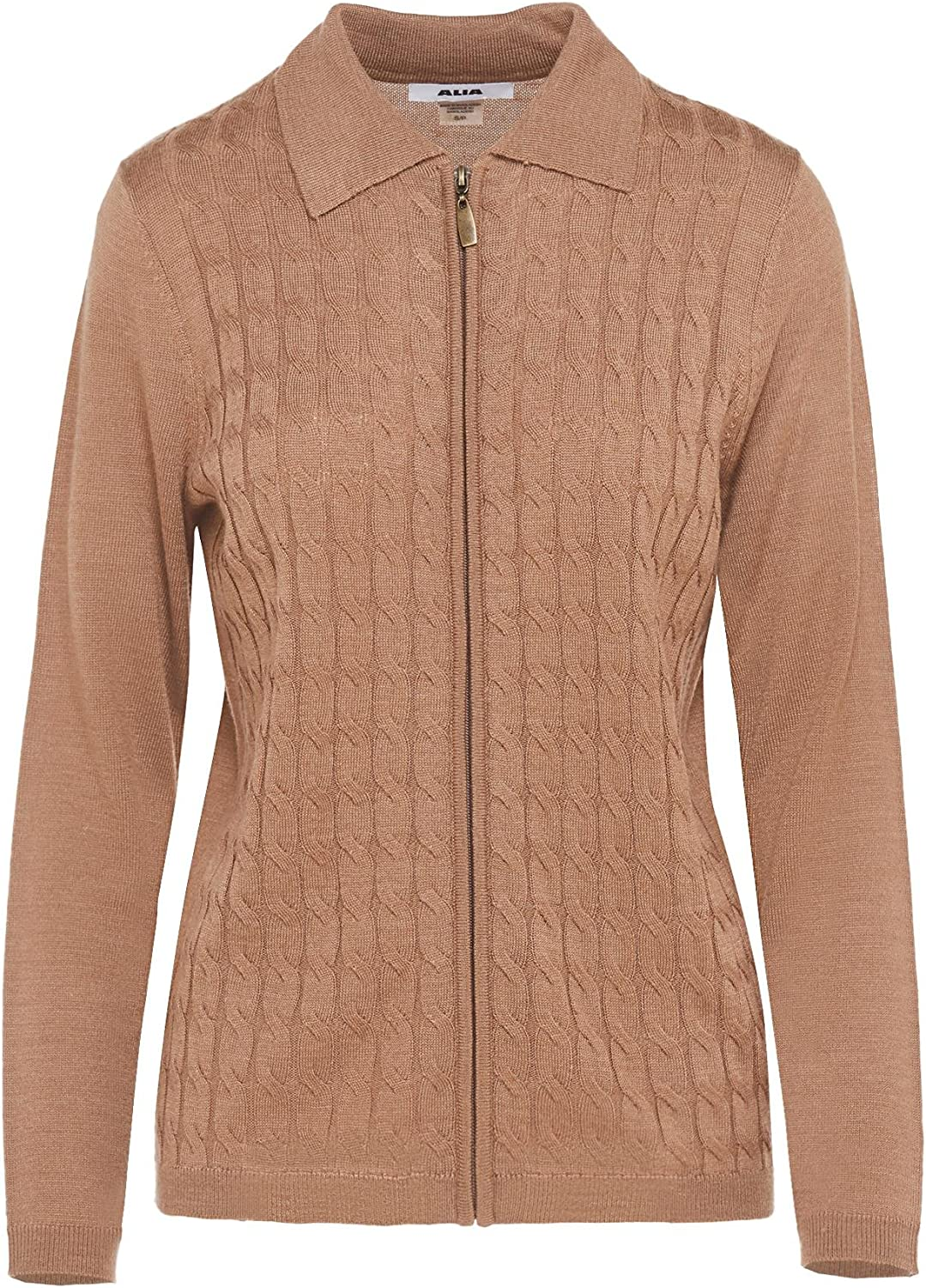 Cable Knit Polo Collar Cardigan with Zip Front