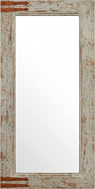 Amazon Brand – Stone & Beam Vintage-Look Rectangular Hanging Wall Frame Mirror Decor, 36.25 Inch Height, Gray