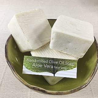 JANECKA Aloe Vera Soap, Artisan Hand-milled, Set of 3 Square Bath Bars