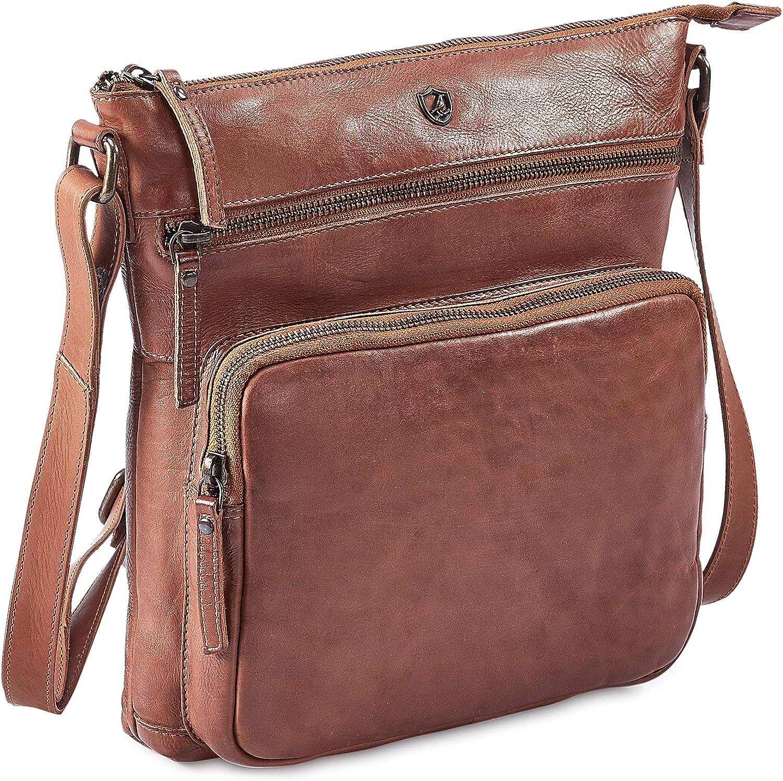 COCHOA Women's Crossbody Real Leather Triple Zip Bag, Purse, Travel Bag