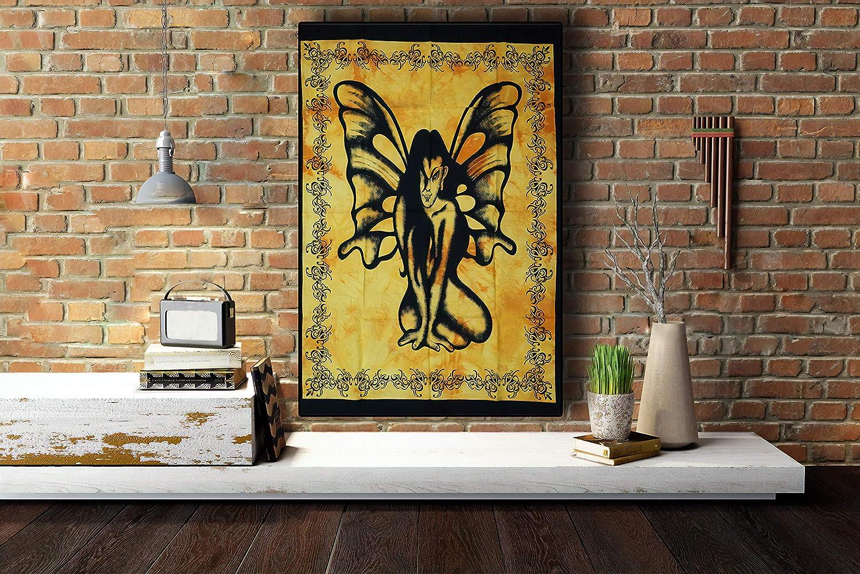 D/écoration de chambre boh/émienne /él/éphant blanc Tapisserie indienne psych/éd/élique c/éleste 106,7 x 76,2 cm D/écoration murale en coton Tapisserie murale Mandala pour d/écoration de mariage