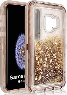 Samsung Galaxy S9+ Liquid Bling Case,Quicksand Shockproof Waterfall Glitter Robot Heavy Duty Shiny Phone Bumper Soft Clear Rubber Protective Commuter Defender Cover for S9Plus (Rose Gold, S9+/S9 Plus)