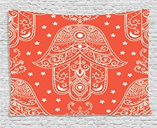 Coral Decor Tapestry by Ambesonne, Pattern with Geometric Qualities Flower and Moon Silhouettes Design Art, Wall Hanging for Bedroom Living Room Dorm, 80 X 60 Inches, Orange and White