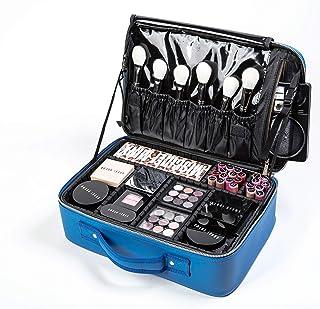 ROWNYEON Makeup Bag Organizer Cosmetic Train Case Travel Makeup Case Portable Artist Makeup Travel Bag Waterproof PU Leath...