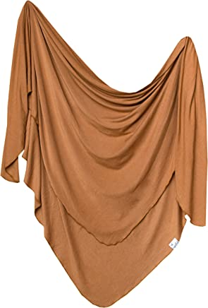 Large Premium Knit Baby Swaddle Receiving BlanketCamel by Copper Pearl