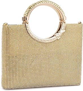 BAIGIO Handtasche Damen Abentasche Clutch Tasche Elegant Schultertasche mit Strass für Party Hochzeit (Gold)