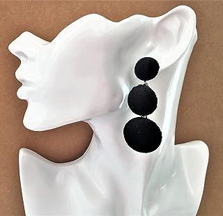 Stunning Black Velvet Domed Pom Pom Stud Drop Earrings Boho Kitsch Retro Large Button Style