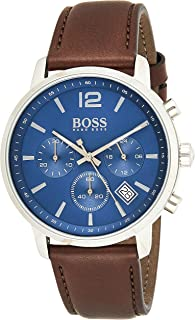 Hugo Boss Mens Quartz Watch, Chronograph Display and Leather Strap 1513606