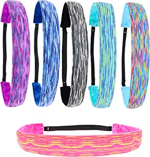 FROG SAC 6 PCS Space Tie Dye Headbands for Teen Girls, Adjustable No Slip Hairband Pack, Comfortable Tie-Dye Girl Head Ban...