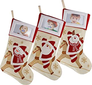 WEWILL Creative Christmas Stockings with Photo Frame Holder, Featuring Reindeer Snowman Santa,Red,Large, 16 Inch, Set of 3(5)