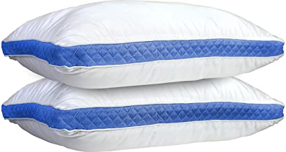 Lux Decor Collection Gusseted Quilted Bed Pillows - Set of 2 Premium Bed Pillows for Side Sleepers and Back Sleepers - 2 Pack (Queen Size, Blue Gussets)