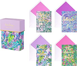 Lilly Pulitzer Women's All Occasion Notecard Set of 20, Includes 5 of Each Design with Coordinating Envelopes, Mermaid in the Shade Assortment