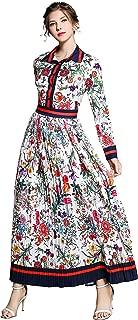 Women's Floral Print Maxi Dress Casual Button Up Long Shirts Maxi Dress