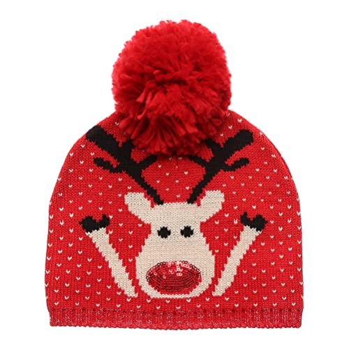 a8c7240dedf MIRMARU Christmas Holiday Fashion Collections Winter Knitted Pom Pom Beanie  Hat.