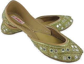 Fulkari Women's Soft Leather Bite and Pinch Free Shining Mirror Gold Flat Jutti Ethnic Shoe