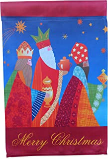 Nativity Garden Flag Winter Yard Decoration; Three Wise Men Following Star of Bethlehem to Jesus with Gifts; true double sided Merry Christmas message readable both sides; 12 inches by 18 inches