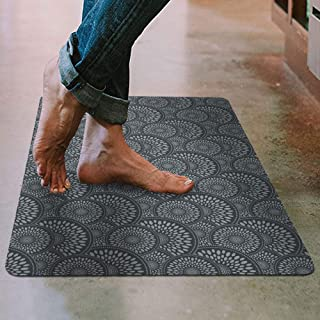 """Shape28 Floor Mat Ultra-Thin Kitchen Rug with Non Slip Rubber Backing 35""""x23"""", Gray"""