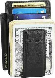 Money Clip Leather Wallet For Men Slim Front Pocket RFID Blocking Card Holder With Super Strong Magnetic