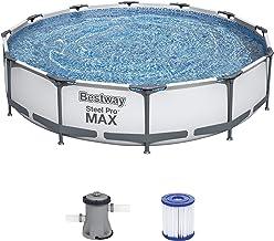 Bestway Steel Pro MAX Aufstellpool-Set mit Filterpumpe Durchmesser 366 x 76 cm, grau, rund