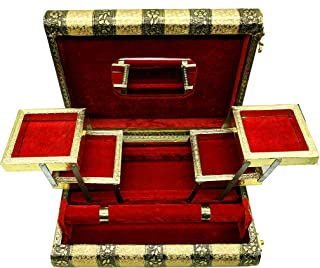 SARANGWARE Handmade Oxidised Wooden Jewellery Box for Women, 1 Roll Bangle with 5 Compartment Jewellery Box with Free Mirr...