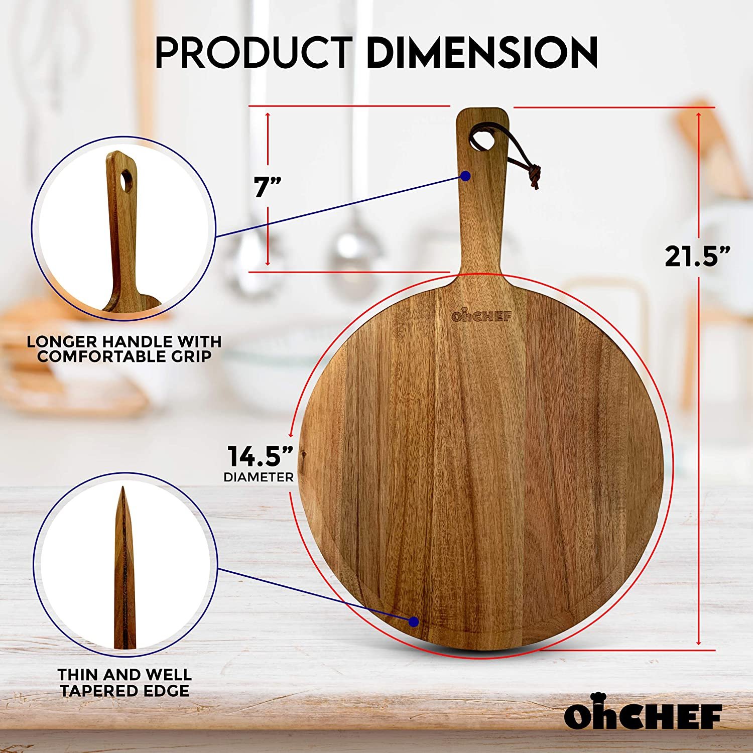 Wooden Pizza Paddle Wooden Pizza Peel Professional Wooden Board Spatula with Handle for Removing Pizza Multifunctional Kitchen Accessory Premium Acacia Wood Pizza Peel 21.5 x 14.5 Inch