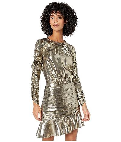 ML Monique Lhuillier Ruched Long Sleeve Metallic Dress (Gold Metallic) Women