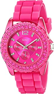 XOXO Women's XO8042 Rhinestone-Accented Watch with Fuschia Silicone Strap