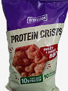 Rebellion Protein Crisps - Sweet & Smokey BBQ Popped Protein Chips - 13 OZ Bag
