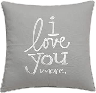 ADecor Pillow Covers Love You Love You More Pillow Cases Embroidered Cushion Covers Love Throw Pillow Couple Wedding P353 (18X18, Love U More(Smoke))