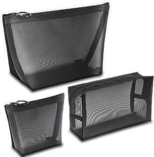 مجموعة حقائب المكياج 3 قطع من برولوسو حقائب صغيرة بسحّاب شبكية لحفظ مستحضرات التجميل مع سحاب أسود لتنظيم أدوات الزينة