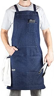 Hudson Durable Goods – Denim Apron for Chef, Kitchen, BBQ, and Grill (Indigo Blue)..