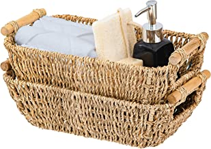 Artera Small Wicker Basket for Bathroom - Woven Seagrass Basket with Wooden Handles for Towels, Wash Cloth,Toilet Paper, T...