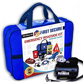Car Emergency Kit First Aid Kit – Premium, Heavy Duty Car Roadside Emergency Kit – Jumper Cables, Portable Air Compressor, Tow Strap, Tire Pressure Gauge, Headlamp – Car Accessories for Women and Men