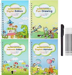 Magic Practice Copybook for Kids, 4Pcs Reusable English Handwriting Calligraphy Flowing Canvas Drawing Alphabet Number Mat...