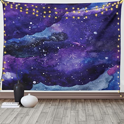 Space Tapestry Blue Hole Galaxy Sky Wall Hanging Art Home Bedspread Decorations