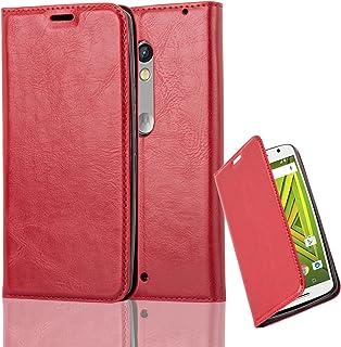 61aae6ee58b Cadorabo Funda Libro para Motorola Moto X Play en Rojo Manzana – Cubierta  Proteccíon con Cierre