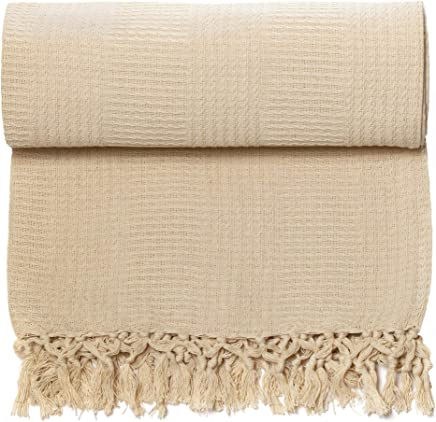featured product Whisper Organics 100% Organic Cotton Throw Blanket - GOTS Certified (60x80,  Natural)