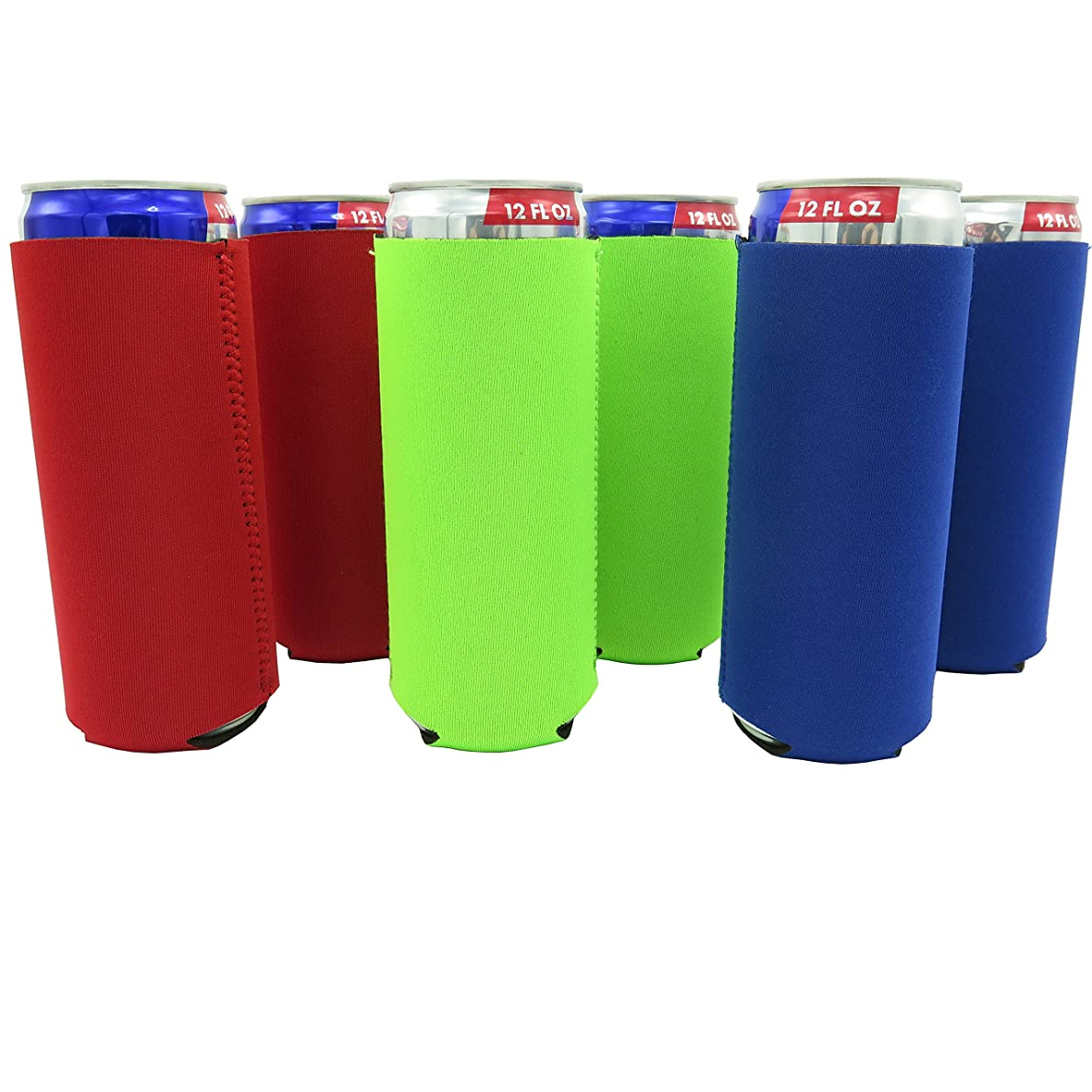 Slim Can Sleeves - Set of 6 Can Neoprene Beverage Coolers (Classic)
