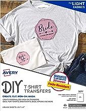 Avery Printable T-Shirt Transfers, For Use on Light Fabrics, Inkjet Printers, 6 Paper Transfers (3271)