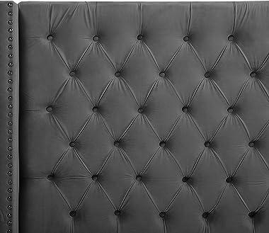 Beliani - Lit - Lubbon - 180 x 200 cm, en Velours, Gris