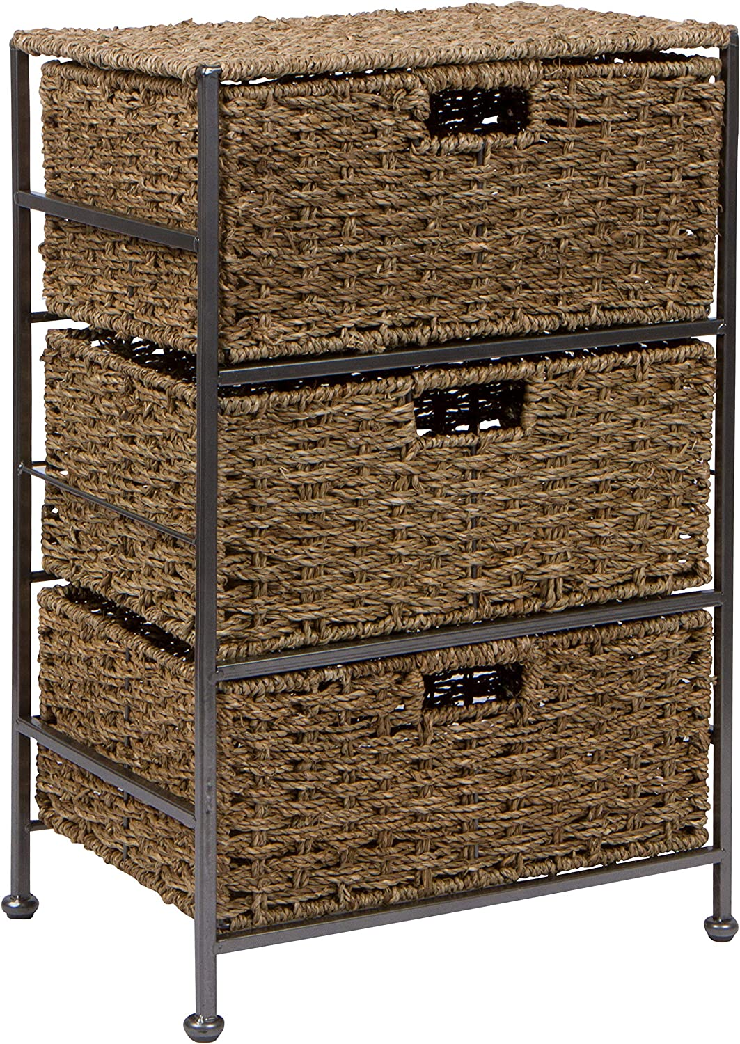 24  Seagrass and Metal 3-Drawer Storage Chest Side Table by Trademark Innovations