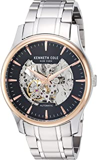 Kenneth Cole New York Men's Analog Automatic-Self-Wind Watch With Stainless-Steel Strap Kc15110001, Silver Band