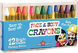 Dress Up America 12 Color Face Paint Safe Non-Toxic Face and Body Crayons - Halloween Makeup - Made in Taiwan