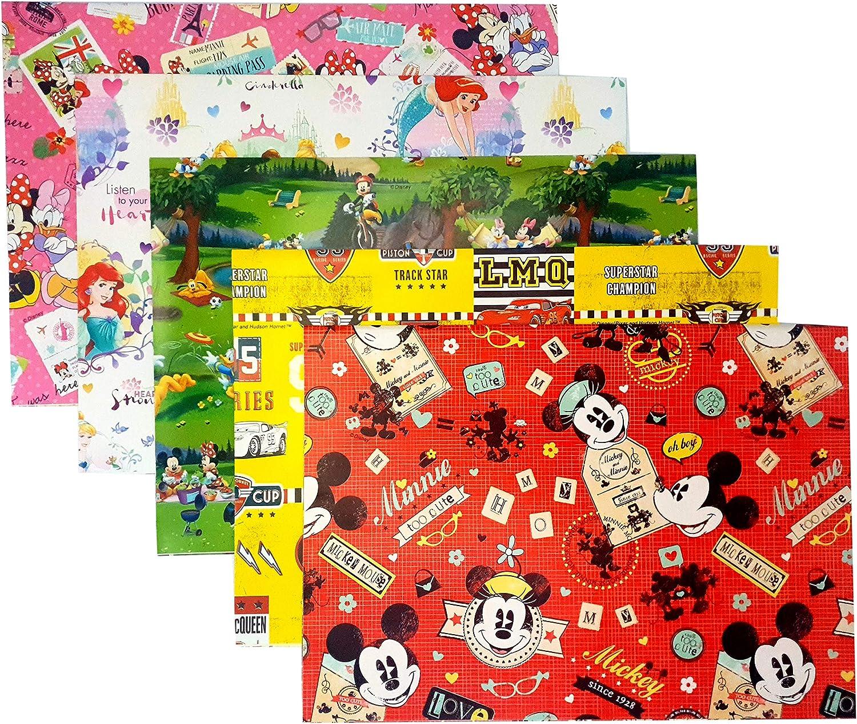Papel de regalo para envolver regalos, 5 unidades, 70 x 100 cm, estampado a tinta color vivo 100 % papel respetuoso con el medio ambiente (Mickey Mouse)