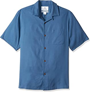Amazon Brand - 28 Palms Men's Relaxed-Fit 100% Textured Silk Camp Shirt