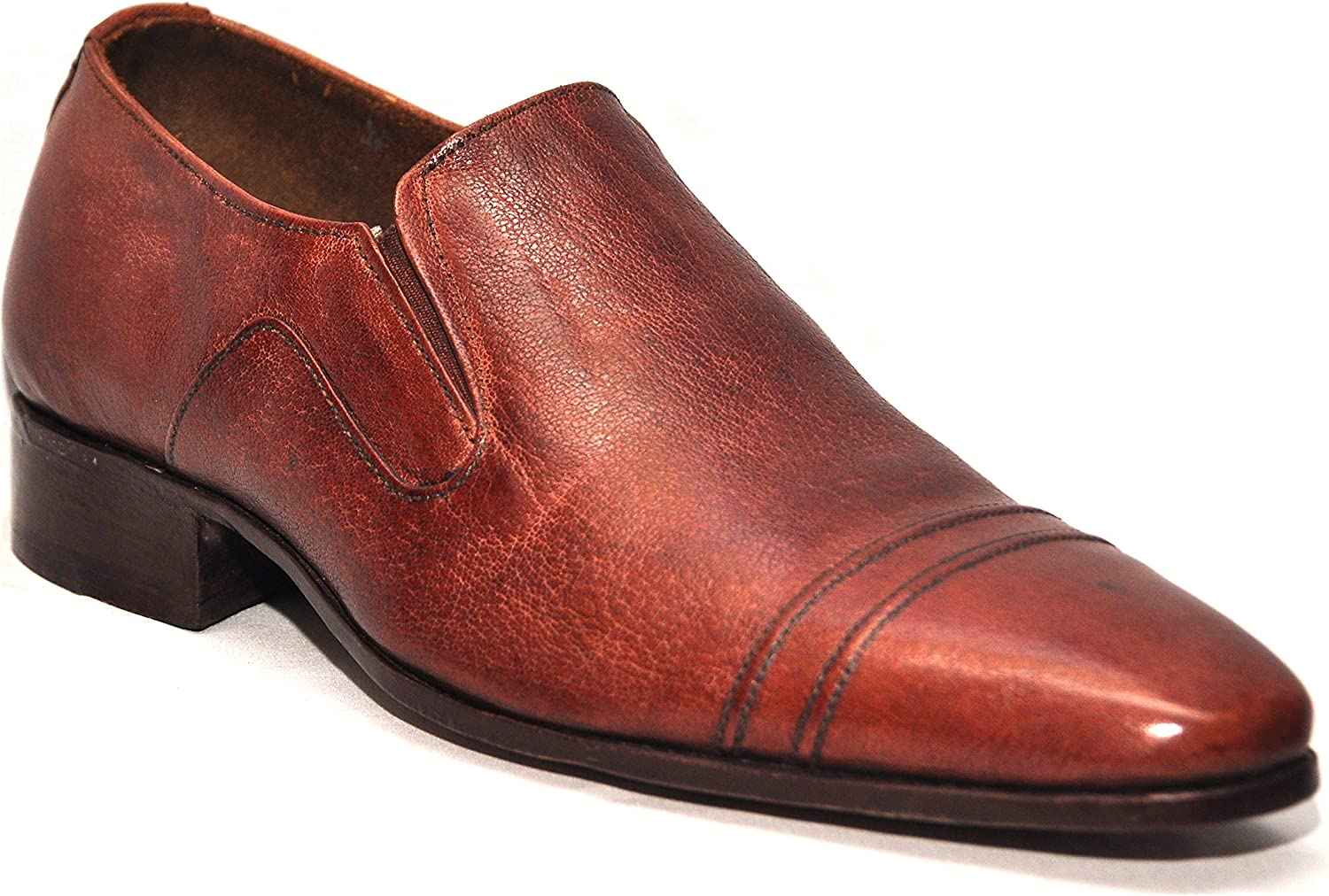 Johny Weber Handmade Side Elastic Brown Leather shoes with Hand Welted Construction
