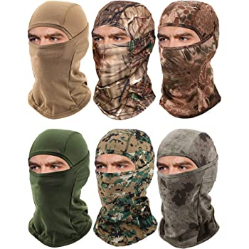6 Pieces Balaclava Face Mask Motorcycle Windproof Camouflage Fishing Face Cover Winter Ski Mask (Mixed Green, Yellow, Khaki, Light Grey, Brown, Green)