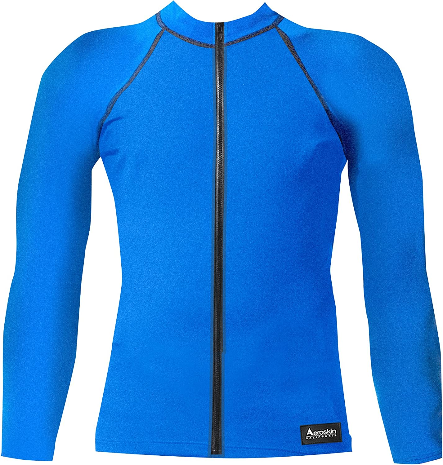 Aeroskin Nylon Long Sleeve Rash Guard with Front Zip, Solid colors (bluee, XLarge)