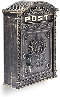 Relaxdays Antique Letterbox: 44.5 x 31 x 9.5 cm, English-Style Wall-Mount Post Box of Cast Aluminium Slot for DIN A4 Lette...